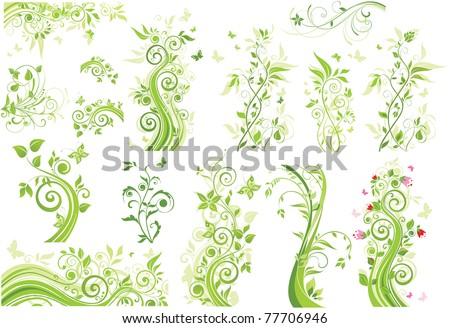 Green trees - stock vector