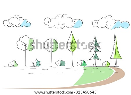 green trees hand draw park simple stock vector 323450645 shutterstock. Black Bedroom Furniture Sets. Home Design Ideas