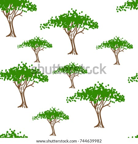 green trees on a white background, stylized trees with foliage, forest, garden, park, seamless pattern. Freehand drawing vector.