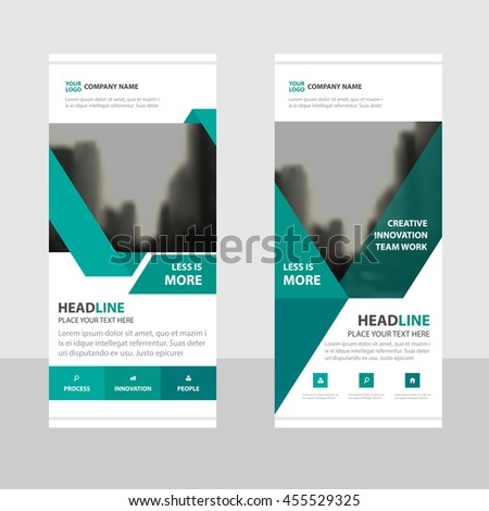 green triangle business roll up banner flat design template abstract geometric banner template vector illustration