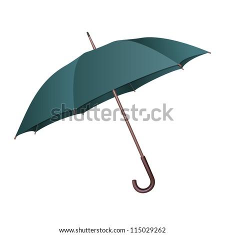 Green umbrella on white background. Vector illustration - stock vector