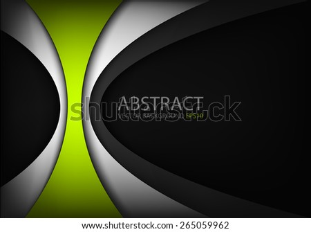 Green vector background curve line technology design with grey layer line and dark space for text and message design - stock vector
