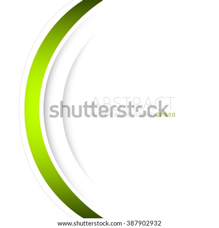Green vector background white curve line paper overlap layer with space for text and message artwork background design - stock vector