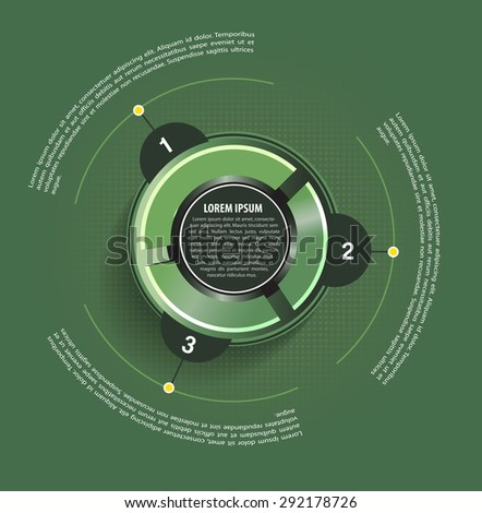 Green vector background with circle graph and with three places for text - stock vector
