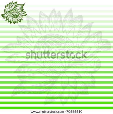 Green vector background with hand drawn flower. - stock vector