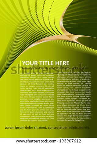 Green vector brochure and poster background with gold elements - stock vector