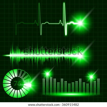 Green vector digital Equalizer, sound wave, pulse, graph, volume,  loading set. Audio technology display, music neon line monitor on black background.  - stock vector