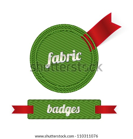 Green vector fabric badges with ribbons