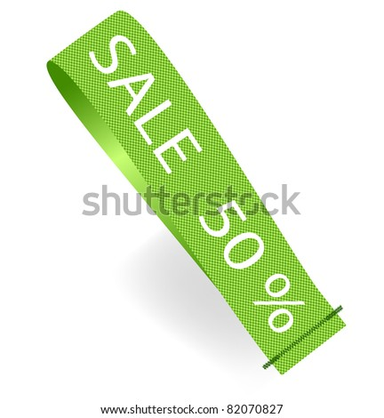 Green Vector Fabric Tag Label. - stock vector