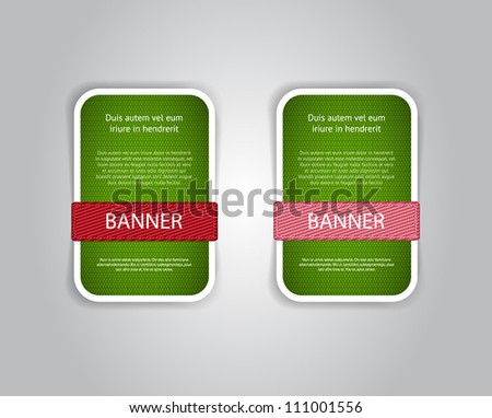 Green vector fabric textured banners with fabric buttons