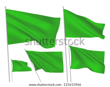 Green vector flags. A set of 5 wavy 3D flags created using gradient meshes - stock vector