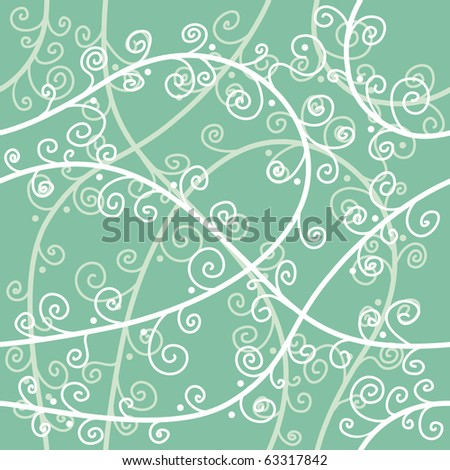 Green vector floral seamless background - stock vector