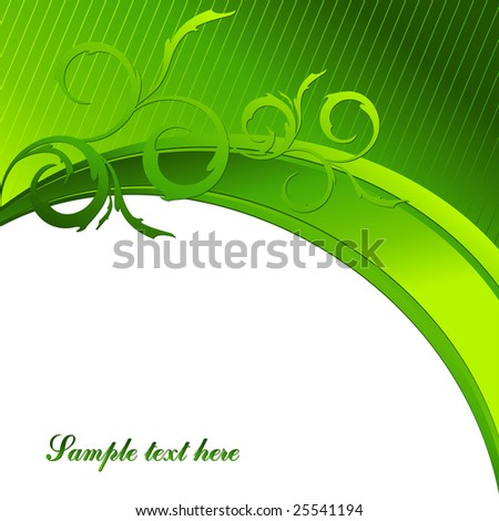 green vector floral template with copy space