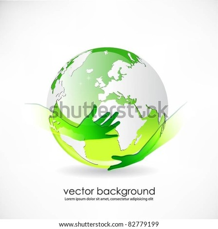 green vector globe surface with hands - stock vector