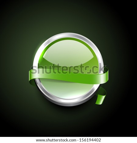 Green vector glossy glass badge with decorative ribbon