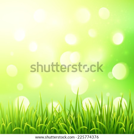 Green vector grass on bokeh light effect background - stock vector