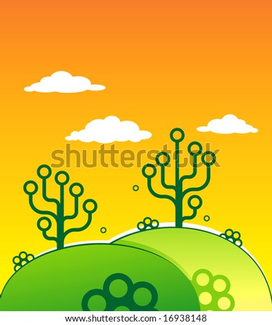 Green vector hills with abstract trees