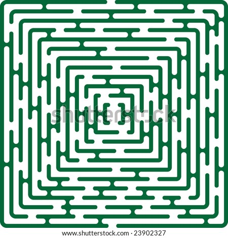 green vector illustration of simple vector maze - stock vector