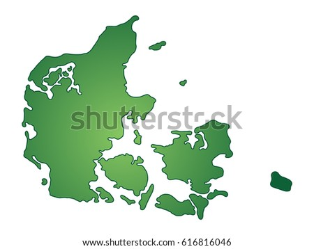 Green vector map of Denmark. Isolated illustration on white background