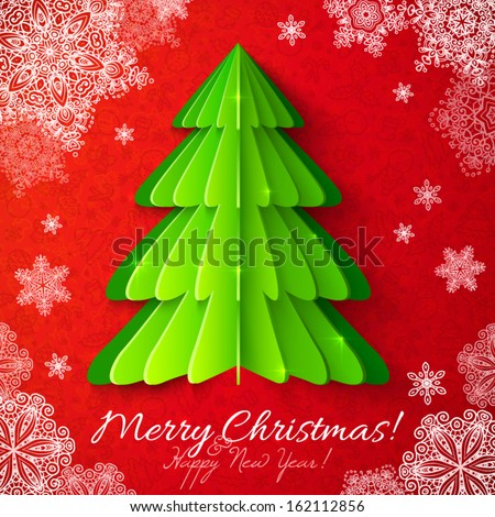 Green vector paper Christmas tree on red ornate background with snowflakes - stock vector