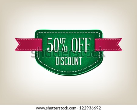 """Green vector promo rough fabric banner decorated with red ribbon tags - """"50% Off Discount"""" - stock vector"""