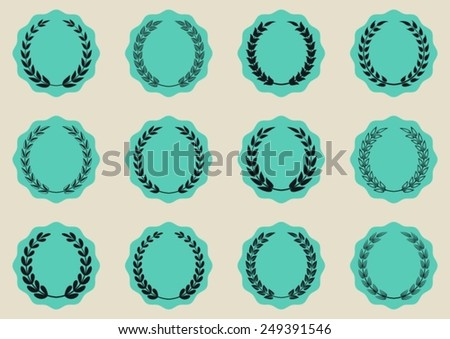 Green vector round labels with laurel wreaths collection - stock vector