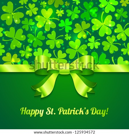 Green vector Saint Patrick's Day greeting card with sign and ribbon - stock vector