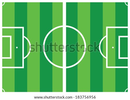 Green vector soccer field  - stock vector