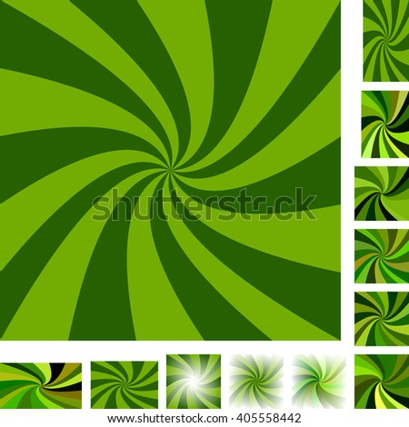 Green vector spiral design background set. Different color, gradient, screen, paper size versions. - stock vector