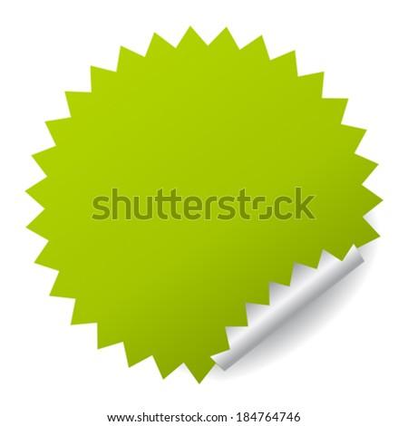 Green vector sticker - stock vector