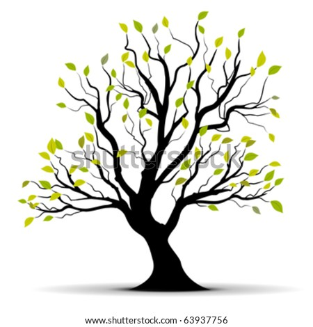 green vector tree isolated over a white background - stock vector