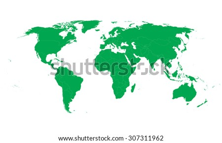 green vector world map with all country borders - stock vector