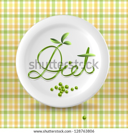 Green vegetable menu word on plate over light checkered background - stock vector