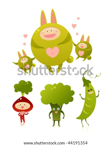 Green vegetables and monsters - stock vector
