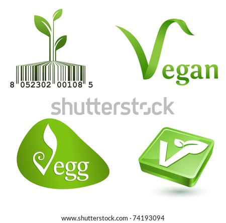 green vegetarian symbols - stock vector