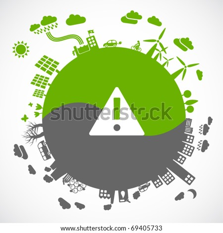 green versus gray - sustainable development concept - stock vector