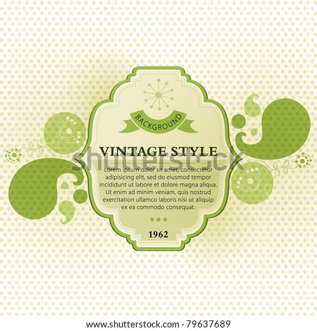 Green vintage banner template - stock vector