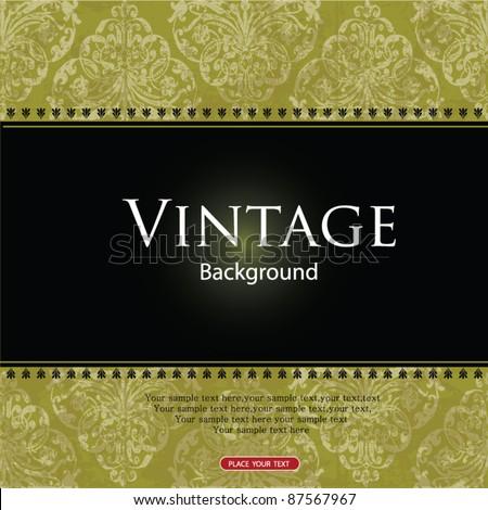 Green vintage card design - stock vector