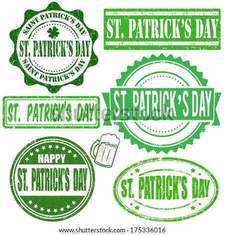Green vintage grunge stamps set for Saint Patrick day on white, vector illustration - stock vector
