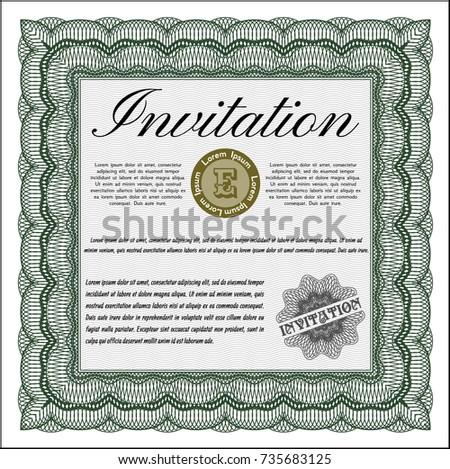 Green Vintage Invitation Template Complex Linear Stock Vector HD ...
