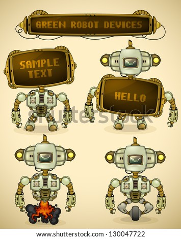 Green vintage robot devices - stock vector