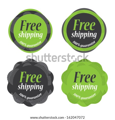 Green vintage Sticker Free Shipping tag collection - Vector illustration - EPS10
