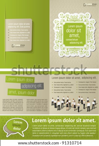 Green vintage template for advertising brochure with business people - stock vector