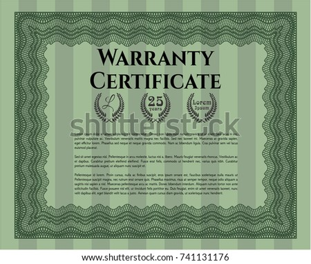 Green warranty certificate template guilloche pattern stock vector green vintage warranty template with complex linear background vector illustration money design yelopaper Choice Image