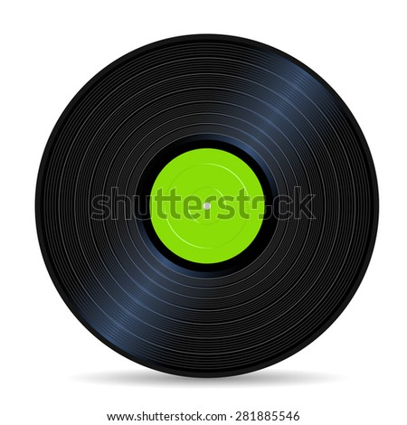 green vinyl record vintage sound stuff - stock vector