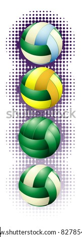 Green volleyballs on the halftone background - stock vector