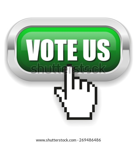 Green vote us button with metal border on white background - stock vector