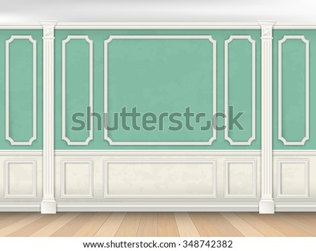 Green wall interior in classical style with pilasters and moldings. Architectural background. - stock vector