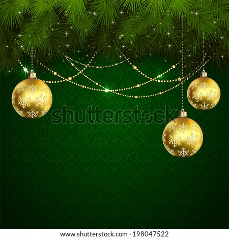 Green wallpaper with branches of Christmas tree and baubles, illustration. - stock vector