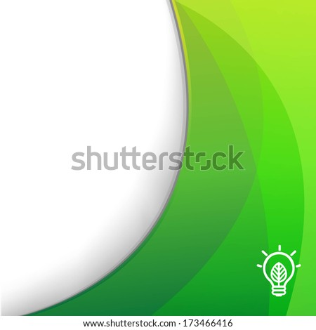 Green Wallpaper With Eco Lamp Symbol, With Gradient Mesh, Vector Illustration - stock vector